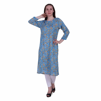 Sky-blue printed viscose ethnic-kurtis