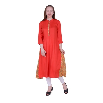 Orange Plain Rayon Ethnic Kurti