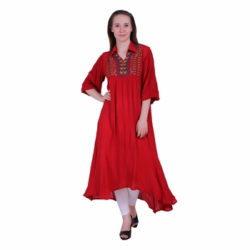 Red Embroidered Rayon Party Wear Kurti