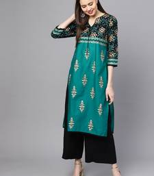 Green printed cotton long kurtis