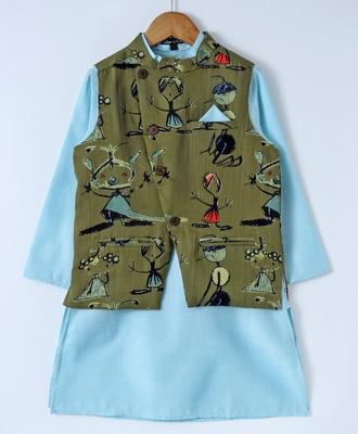Blue plain cotton poly boys-kurta-pyjama