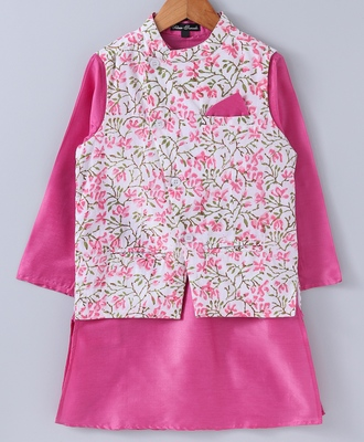Pink plain cotton poly boys-kurta-pyjama
