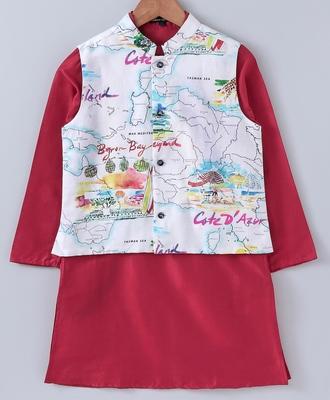 Red plain cotton poly boys-kurta-pyjama