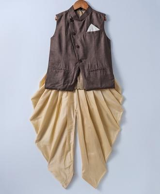Brown plain silk blend boys-dhoti-kurta