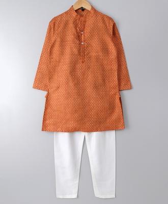 Orange plain polyester boys-kurta-pyjama