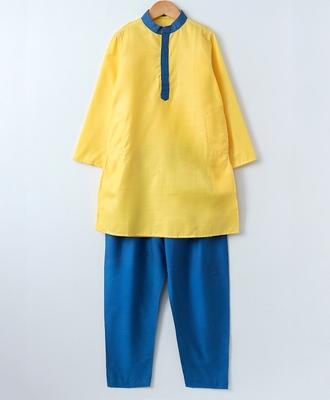 Yellow plain cotton poly boys-kurta-pyjama