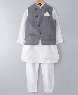 White plain cotton poly boys-kurta-pyjama