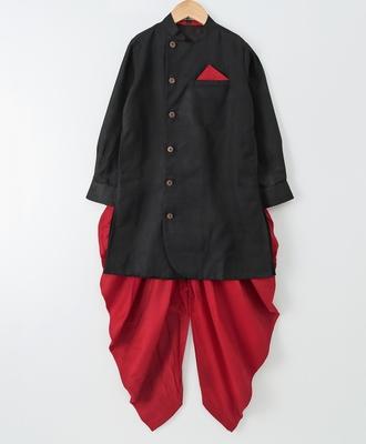 Black woven cotton poly boys sherwani