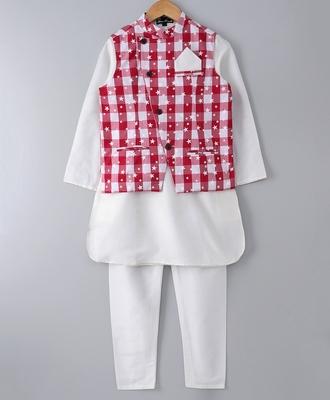 White plain cotton poly boys-kurta-pyjama