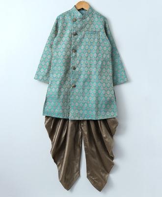 Blue woven brocade boys sherwani