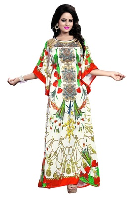 Justkartit Digital Printed Multi Color Satin Silk Kaftan Kurta For Women