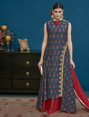 Blue embroidered silk blend salwar