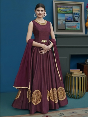 Maroon embroidered silk blend salwar