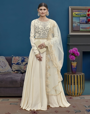 Cream embroidered silk blend salwar