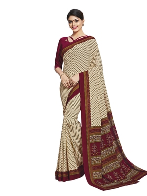 Cream printed poly cotton saree with blouse
