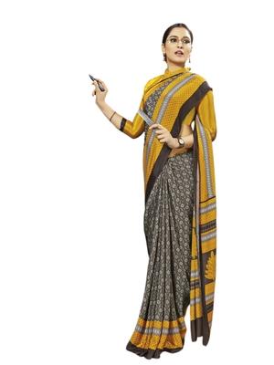 Grey printed silk blend saree with blouse
