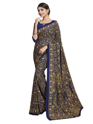 Multicolor printed poly cotton saree with blouse