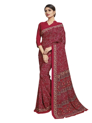 Red printed poly cotton saree with blouse