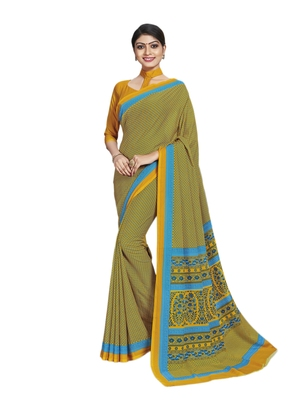 Yellow printed poly cotton saree with blouse