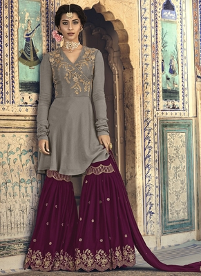 Dark-Grey Embroidered Georgette Salwar
