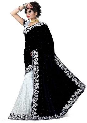 Black Woven Velvet Saree With Blouse
