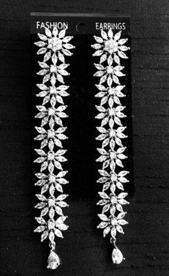 Cz American Diamond Silver Rhodium Plated Long Dangler Earrings