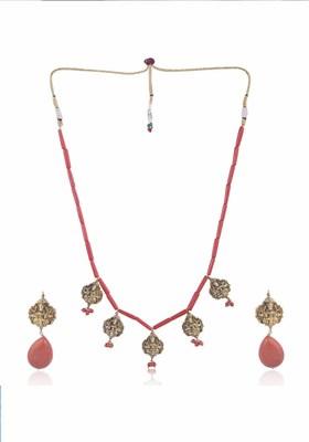 Jania Coral Temple Necklace Set