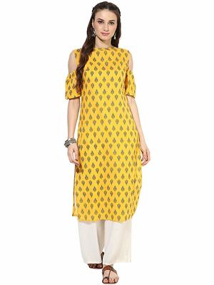 Yellow Cotton Cold Shoulder Ethnic Designer Kurti