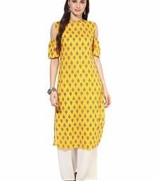Yellow Cotton Cold Shoulder Ethnic Designer Kurti