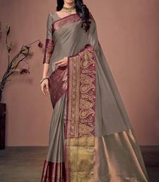 Grey jacquard cotton silk saree with blouse
