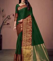 Green jacquard  cotton silk saree with blouse