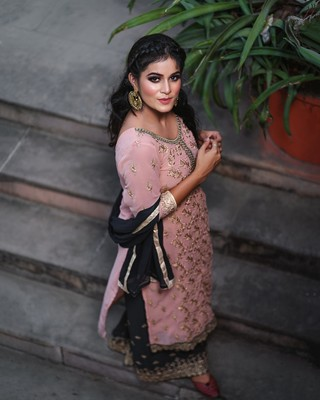 Light-peach embroidered faux georgette salwar
