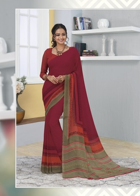 Maroon printed georgette saree with blouse