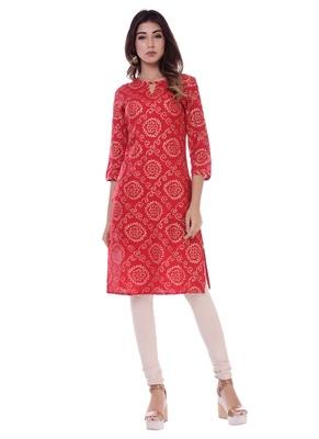 Women's Kurti Red Foil Print Rayon Straight Fit Kurta