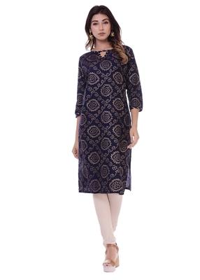 Women's Kurti Navy Blue Foil Print Rayon Straight Fit Kurta