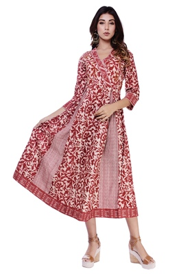 Women's Kurti Maroon Embroidered Cambric Cotton A-Line Kurta