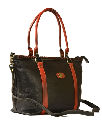 Genuine large multipurpose leather laptop handbags for women cum shoulder bag (pure leather bag) (Black)