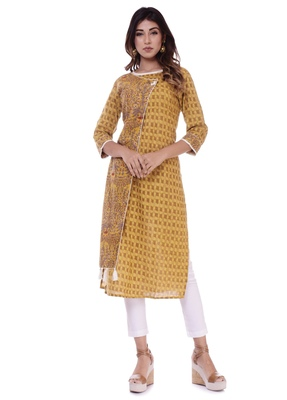 Women's Kurti Blue Printed Cotton Slub Straight Fit Kurta