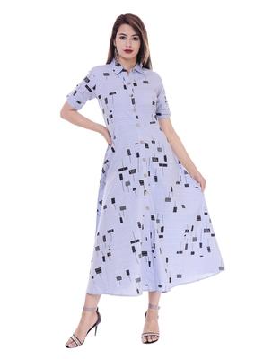 Women's Blue Printed A-Line Cotton Flex Dress