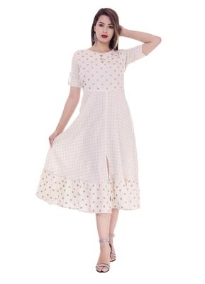Women's Off White Printed A-Line Cotton Flex Dress