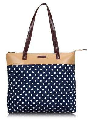 Lychee Bags Canvas Blue Polka Printed Shopper Tote Bags
