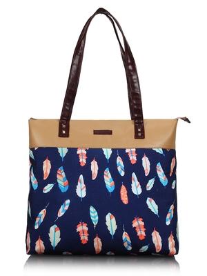 Lychee bags Canvas Blue Leaf Printed Tote bag