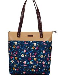 Lychee Bags Canvas Blue Floral Printed Shopper Tote Bag