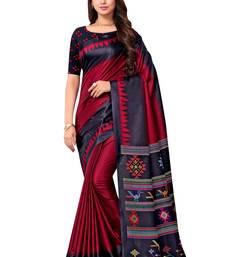 Maroon printed manipuri silk saree with blouse