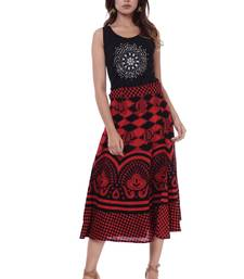 Red Women's Red Cotton Printed Wrap Around Skirt