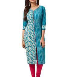 Turquoise printed cotton  kurtis