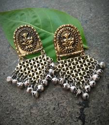 Handmade Dual Tome Earrings With Ganpati Engraved Studs