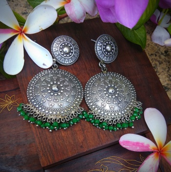 German Silver Round Earrings With Green Pearl Embellishments