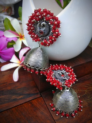 Red Pearl Studded Ear Studs And Pearl Drop German Silver Jhumka