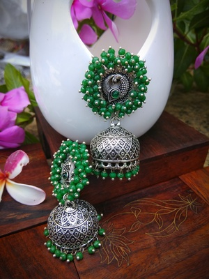 Green Pearl Studded Ear Studs And Pearl Drop German Silver Jhumka